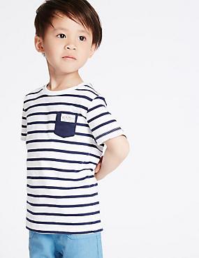 Gestreiftes T-Shirt aus reiner Baumwolle (3 Monate–5 Jahre), WEISS MELANGE, catlanding