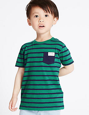 Pure Cotton Striped T-Shirt (3 Months - 5 Years), GREEN MIX, catlanding