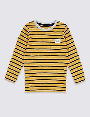 Pure Cotton Stripped Top (3 Months - 5 Years), OCHRE, catlanding