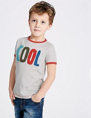 Cotton Rich T-Shirt (3 Months - 5 Years), OATMEAL MIX, catlanding