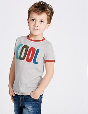 T-shirt en coton (du 3mois au 5ans), AVOINE ASSORTI, catlanding