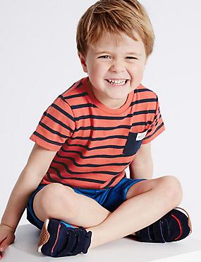 Gestreiftes T-Shirt aus reiner Baumwolle (3 Monate–5 Jahre), ROT MELANGE, catlanding