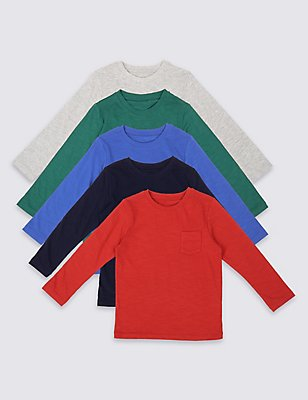 5 Pack Cotton Rich Long Sleeve Tops (3 Months - 5 Years), MULTI, catlanding