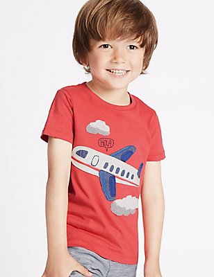 Pure Cotton Applique T-Shirt (3 Months - 5 Years), RED, catlanding