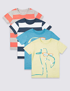 4 Pack Short Sleeve T-Shirt (3 Months - 5 Years), MULTI/BRIGHTS, catlanding