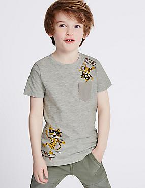 T-shirt à imprimé animal (du 3mois au 5ans), GRIS, catlanding