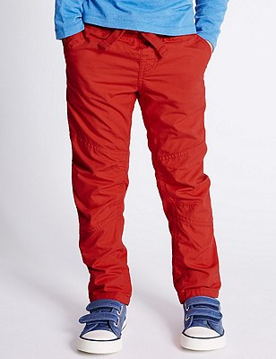 Pure Cotton Ripstop Trousers (1-7 Years), RED, catlanding