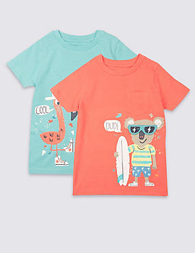 2 Pack Pure Cotton T-Shirts (3 Months - 5 Years), MULTI/BRIGHTS, catlanding