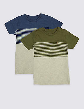2 Pack Striped T-Shirts (3 Months - 5 Years), OATMEAL, catlanding