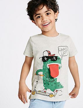 T-shirt en coton à manches courtes (du 3mois au 5ans), AVOINE, catlanding
