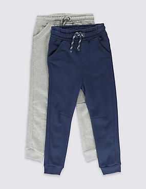 2 Pack Cotton Rich Joggers (1-7 Years), NAVY/GREY, catlanding