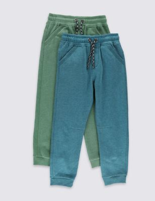 Хлопковые джоггеры в цветном исполнении для мальчика 1-7 лет (2 пары) от Marks & Spencer