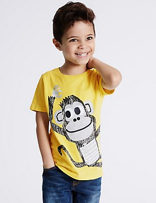 Pure Cotton Printed T-Shirt (3 Months - 5 Years), YELLOW, catlanding