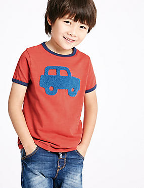 Pure Cotton Printed T-Shirt (3 Months - 5 Years), RED MIX, catlanding