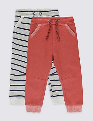 2 Pack Cotton Rich Joggers (3 Months - 5 Years), RED MIX, catlanding
