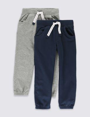 Хлопковые джоггеры серого и синего цвета для мальчика 1-7 лет от Marks & Spencer