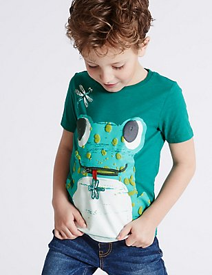 Pure Cotton Printed T-Shirt (3 Months - 5 Years), EMERALD, catlanding