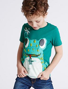 T-shirt 100% coton avec imprimé (du 3mois au 5ans), ÉMERAUDE, catlanding