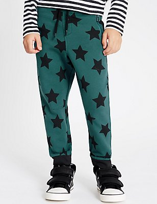 Cotton Blend Star Print Joggers (1-7 Years), GREEN MIX, catlanding