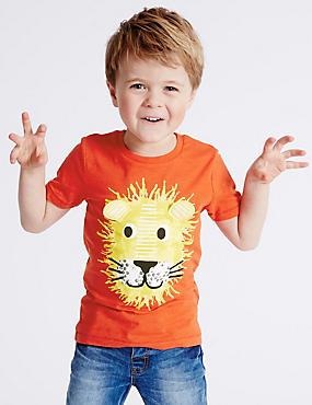 Pure Cotton Lion Print T-Shirt (3 Months - 5 Years), CHILLI, catlanding