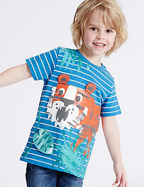 Cotton Rich Striped T-Shirt (3 Months - 5 Years), BLUE MIX, catlanding