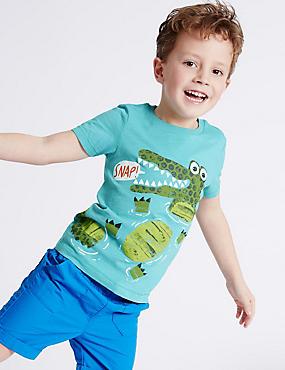 T-shirt 100% coton avec imprimé (du 3mois au 5ans), BLEU PACIFIQUE CLAIR, catlanding