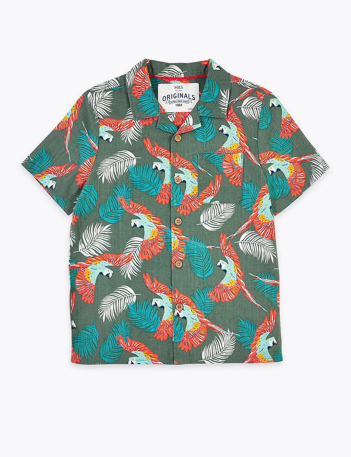 Рубашка из 100% чистого хлопка с принтом