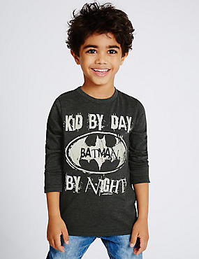 Cotton Rich Batman™ T-Shirt (3 Months - 5 Years), WHITE MIX, catlanding