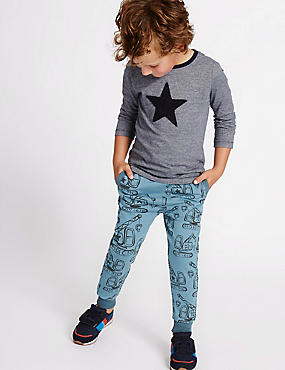 Cotton Rich All Over Print Joggers (3 Months - 5 Years), BLUE MIX, catlanding