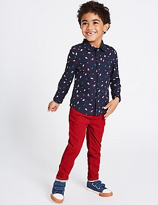 Cotton Rich Trousers (3 Months - 6 Years), RED, catlanding