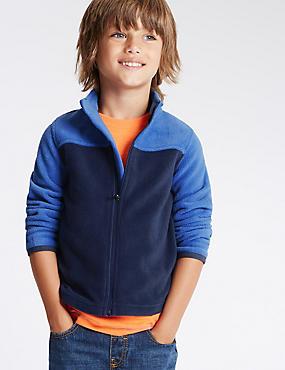 Zipped Through Neck Fleece Top (18 Months - 7 Years), NAVY/BLUE, catlanding