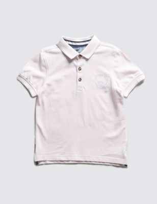 Рубашка-поло из чистого хлопка с коротким рукавом для мальчика 1-7 лет от Marks & Spencer