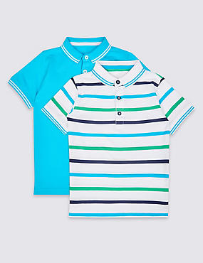 2 Pack Pure Cotton Polo Shirts (3 Months - 5 Years), MULTI/BRIGHTS, catlanding