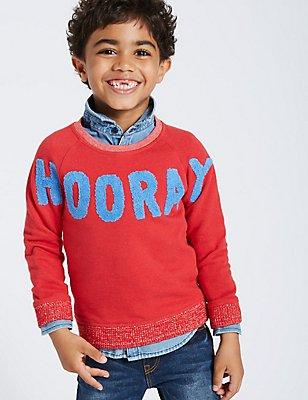 Cotton Rich Sweatshirt (3 Months - 6 Years), BRIGHT RED, catlanding