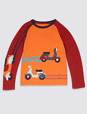 Pure Cotton Long Sleeve Top (3 Months - 5 Years), DARK ORANGE, catlanding