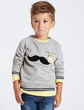 Cotton Rich Moustache Sweatshirt (3 Months - 6 Years), GREY MARL, catlanding