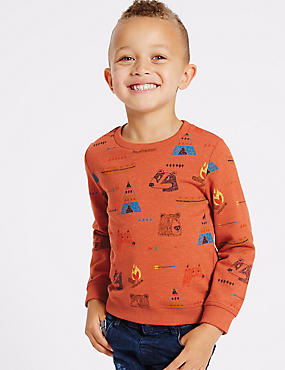 Cotton Rich Printed Sweatshirt (3 Months - 5 Years), MULTI, catlanding