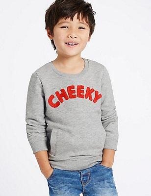 Cheeky Slogan Sweatshirt (3 Months - 5 Years), INDIGO, catlanding