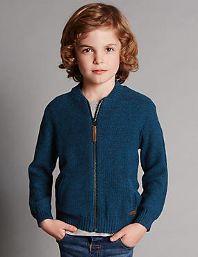 Cotton Rich Zip Through Sweatshirt with Merino Wool (1-7 Years)