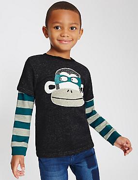 Pure Cotton Monkey Print Sweatshirt (1-7 Years), DENIM MIX, catlanding