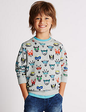 Pure Cotton Superhero Sweatshirt (1-7 Years)