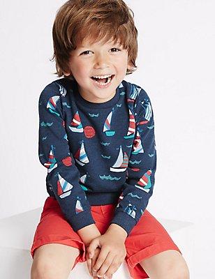Katoenrijke sweater met print (3 maanden-5 jaar), BLAUW, catlanding