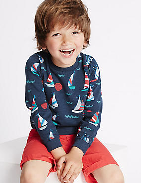 Cotton Rich All Over Print Sweatshirt (3 Months - 5 Years), BLUE, catlanding