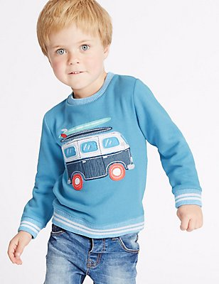 Cotton Rich Sweatshirt (3 Months - 5 Years), BLUE MIX, catlanding