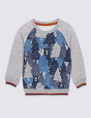 Cotton Rich Printed Sweatshirt (3 Months - 5 Years), BLUE MIX, catlanding