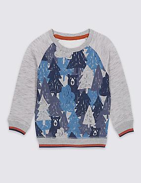 Cotton Rich Printed Sweatshirt (3 Months - 5 Years), BLUE MIX, catlanding