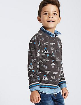 Printed Sweatshirt (3 Months - 6 Years), MULTI, catlanding