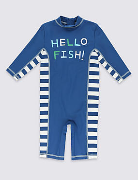 Hello Fish Slogan Safe in the Sun Swimsuit (1-7 Years)