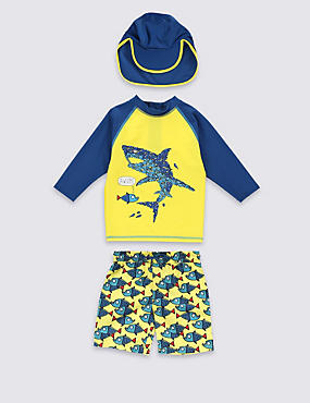 3 Piece Sun in the Safe Shark Rash Vest, Shorts Swimsuit with Hat (1-7 Years)
