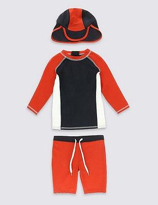 3 Piece Safe in the Sun Swimsuit (1-7 Years), ORANGE MIX, catlanding